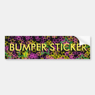 Neon Pink Green & Yellow Stars BUMPER STICKER