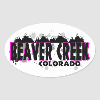 Neon pink grunge Beaver Creek Colorado Oval Sticker