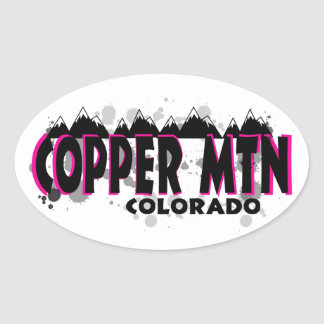 Neon pink grunge Copper Mountain Colorado Oval Sticker