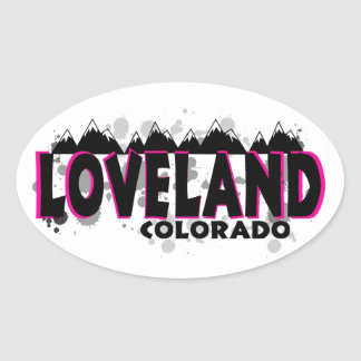 Neon pink grunge Loveland Colorado Oval Sticker