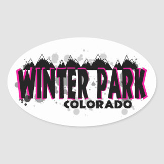 Neon pink grunge Winter Park Colorado Oval Sticker