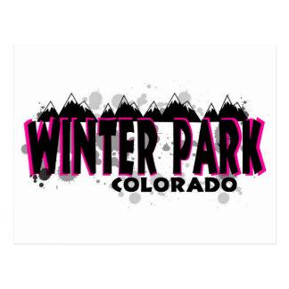 Neon pink grunge Winter Park Colorado Postcard