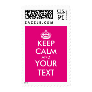 Neon pink keep calm and your text postage stamps