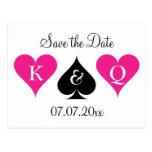 Neon pink Las Vegas wedding save the date postcard