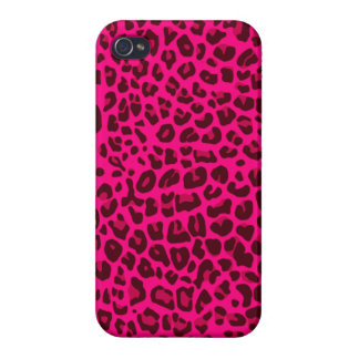 Neon pink leopard print pattern iPhone 4 cover