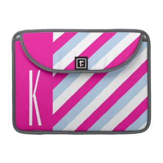 Neon Pink, Light Blue, & White Diagonal Stripes MacBook Pro Sleeves