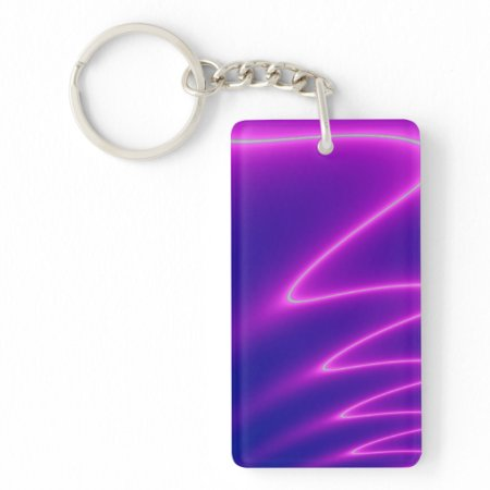 Neon Pink Lightning Double-Sided Rectangular Acrylic Keychain