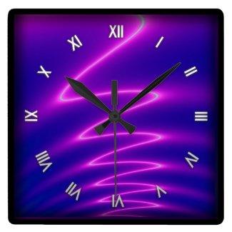 Neon Pink Lightning Wall Clock