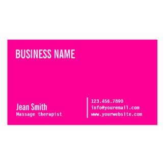 Neon Pink Massage Therapist Business Card