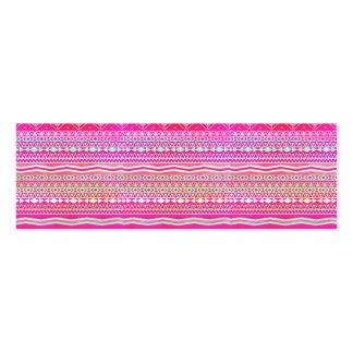 Neon pink modern pastel ombre geometric aztec mini business card