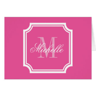 Neon pink monogram note cards with elegant border
