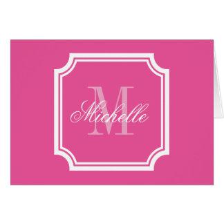 Neon pink monogram note cards with elegant border