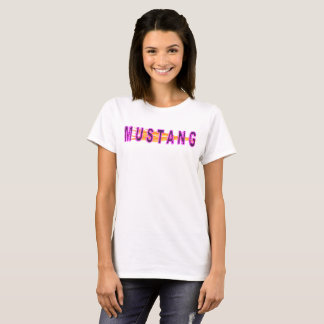 Neon Pink Mustang And Flames T-Shirt