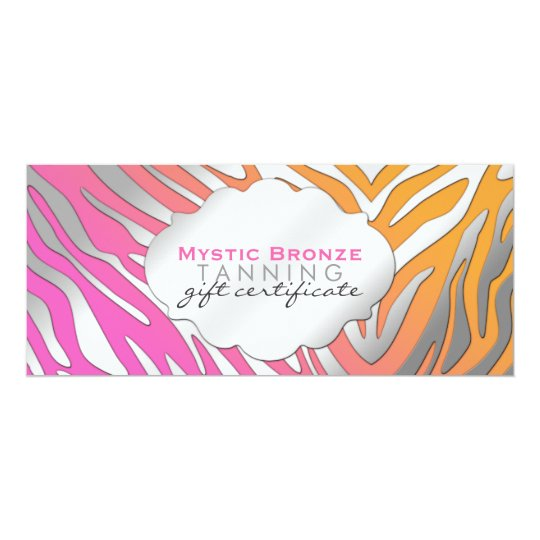 Neon Pink & Orange Zebra Print Gift Certificates Card