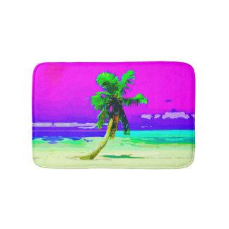 neon pink palm tree paradise bathroom mat