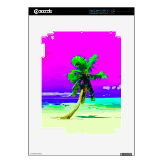 Neon Pink Palm Tree Paradise Decal For iPad 2