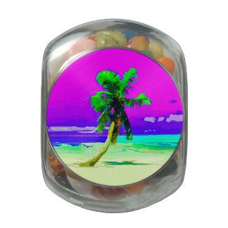Neon Pink Palm Tree Paradise Glass Jars