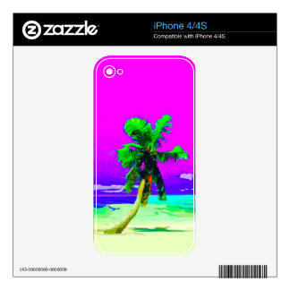 Neon Pink Palm Tree Paradise Skin For The iPhone 4
