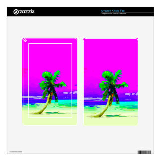 Neon Pink Palm Tree Paradise Skins For Kindle Fire