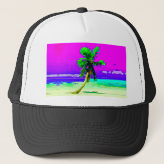 Neon Pink Palm Tree Paradise Trucker Hat