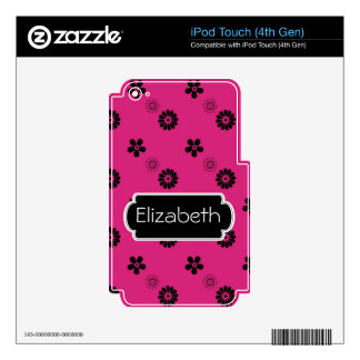 Neon Pink Pattern Monogram MP3 Skin Skins For iPod Touch 4G
