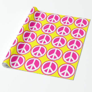 Neon Pink Peace Sign Wrapping Paper