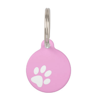 neon pink pet paw print tag