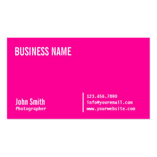 Neon Pink Photographer Business Card