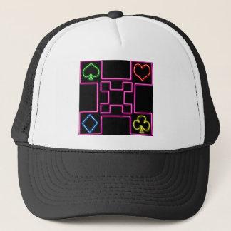 Neon pink poker trucker hat