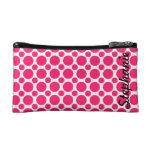 Neon Pink Polka Dot Monogram Cosmetics Bags