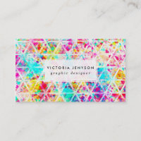 Neon Pink Rainbow Watercolor Triangles Pattern Business Card