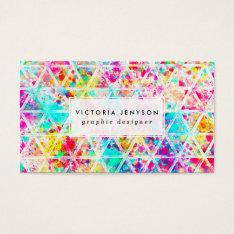 Neon Pink Rainbow Watercolor Triangles Pattern Business Card at Zazzle