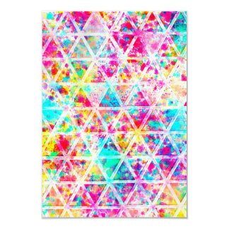 Neon Pink Rainbow Watercolor Triangles Pattern Card