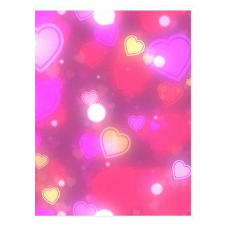 Neon Pink Red Heart Pattern - Galaxy Print Postcard