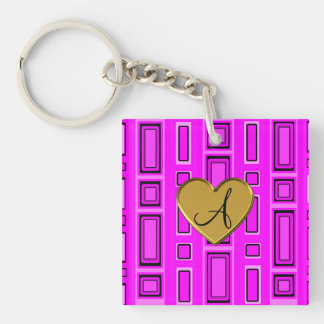 Neon pink retro squares monogram Double-Sided square acrylic keychain