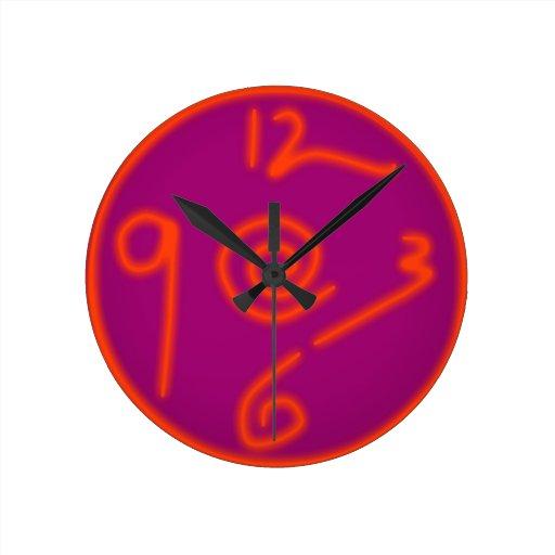 Neon Pink Round Clocks