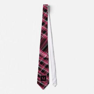 Neon Pink Silver Black Chalk Design Monogrammed Tie