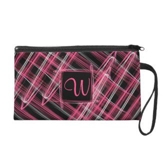 Neon Pink Silver Black Chalk Design Monogrammed Wristlet Purse