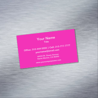 Neon Pink Solid Color Customize It Business Card Magnet
