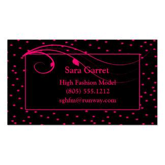 Neon Pink Stars & Vines On Black Business Card