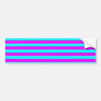 Neon Pink Teal Modern Stripes Pattern Bumper Sticker