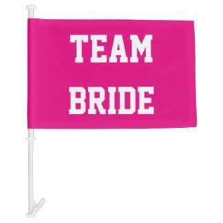 Neon pink team bride wedding car window flag