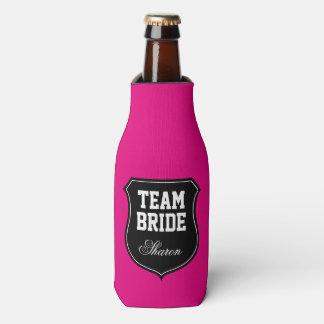 Neon pink Team Bride wedding party bottle coolers Bottle Cooler