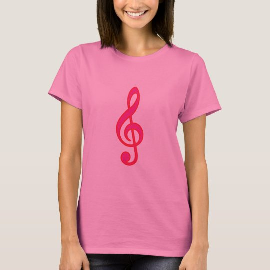 Neon Pink Treble Clef T-Shirt
