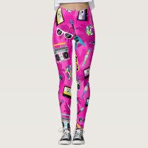 Neon Pink Trendy 80s Leggings