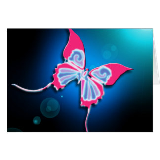Neon Pink Trim Butterfly Card