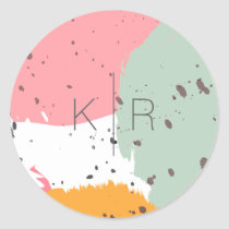 Neon Pink Turquoise Brush Strokes Monogram Sticker