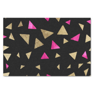 """Neon pink watercolor gold triangles hand drawn 10"""" x 15"""" tissue paper"""