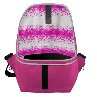 Neon pink watercolour stripes splatters courier bag