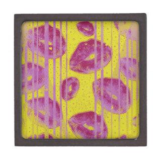 Neon Pink Yellow Kisses Jewelry Box